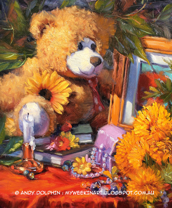 Teddy bear, flowers and beads still life oil painting by Andy Dolphin