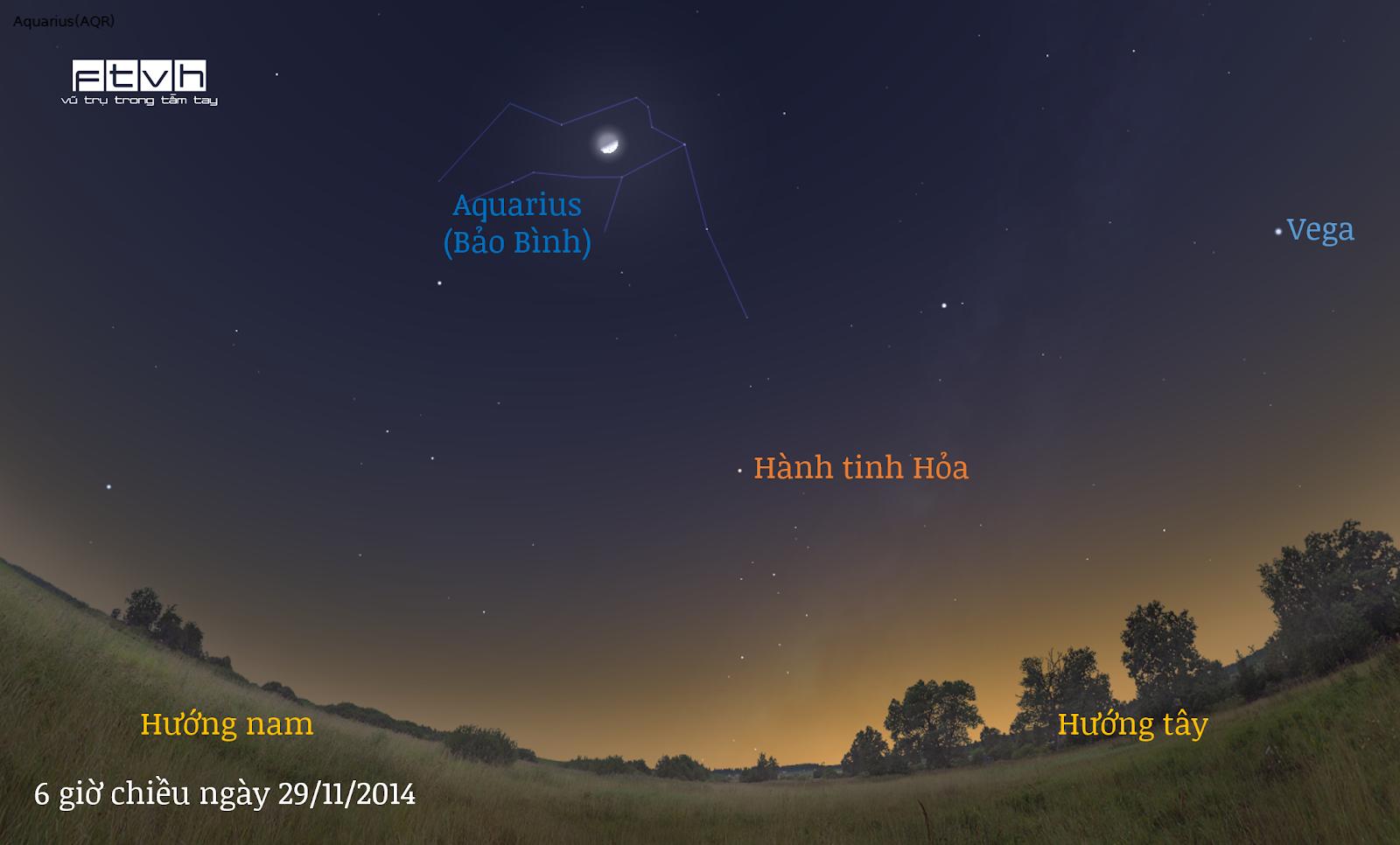Trăng thượng huyền tháng 10 âm lịch trong chòm sao Aquarius vào chiều ngày 29/11/2014.