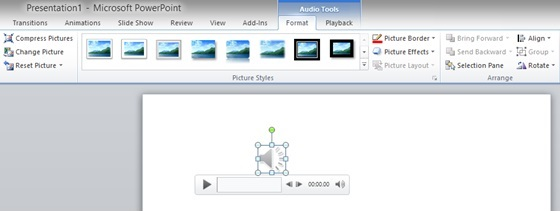 Screenshot of the Slide after the Audio File has been added