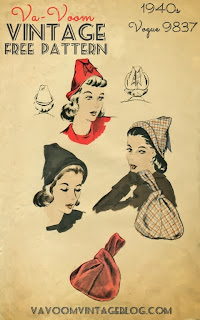 free sewing pattern 1940s vintage hat and purse pdf download