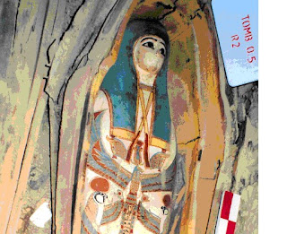April 15, 2009--A wooden casket decorated with six different gods was among those recently found in a cache of 52 rock tombs in Lahun