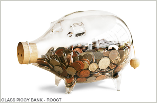 GLASS PIGGY BANK - ROOST