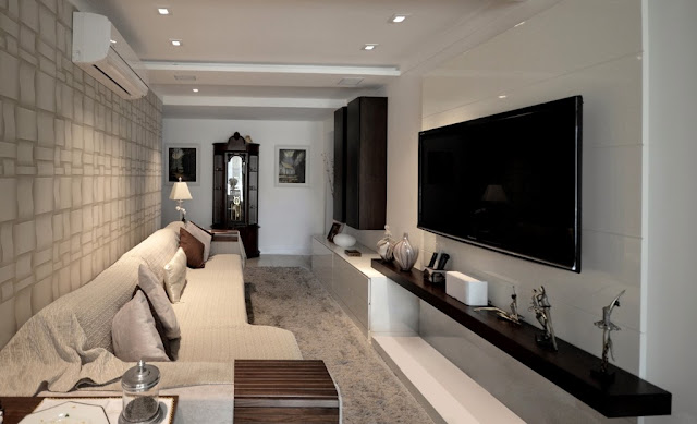 Como decorar sala estreita e comprida casa pro for Salas de television modernas