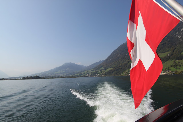 Beautiful Lake Lucerne and greenery mountains in Lucerne, Switzerland