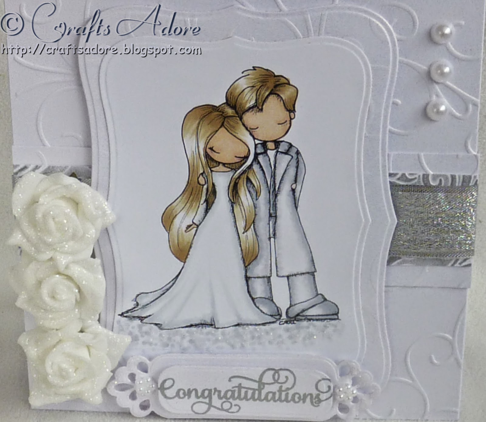 "Tiddly Inks ""You and Me"" Wedding Congratulations Card coloured with Spectrum Noir pens"