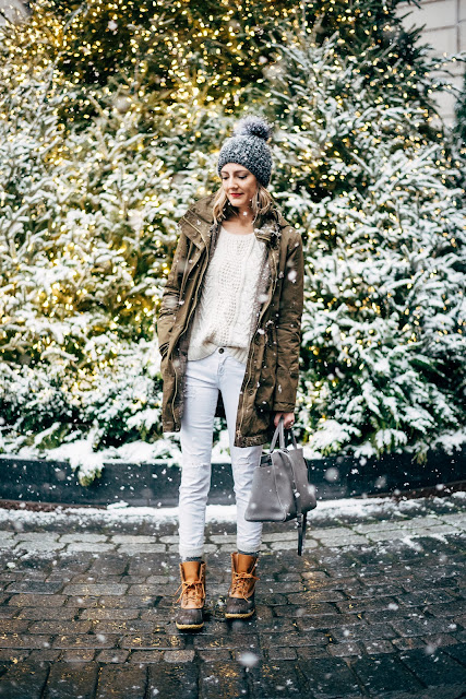 winter white boots outfit