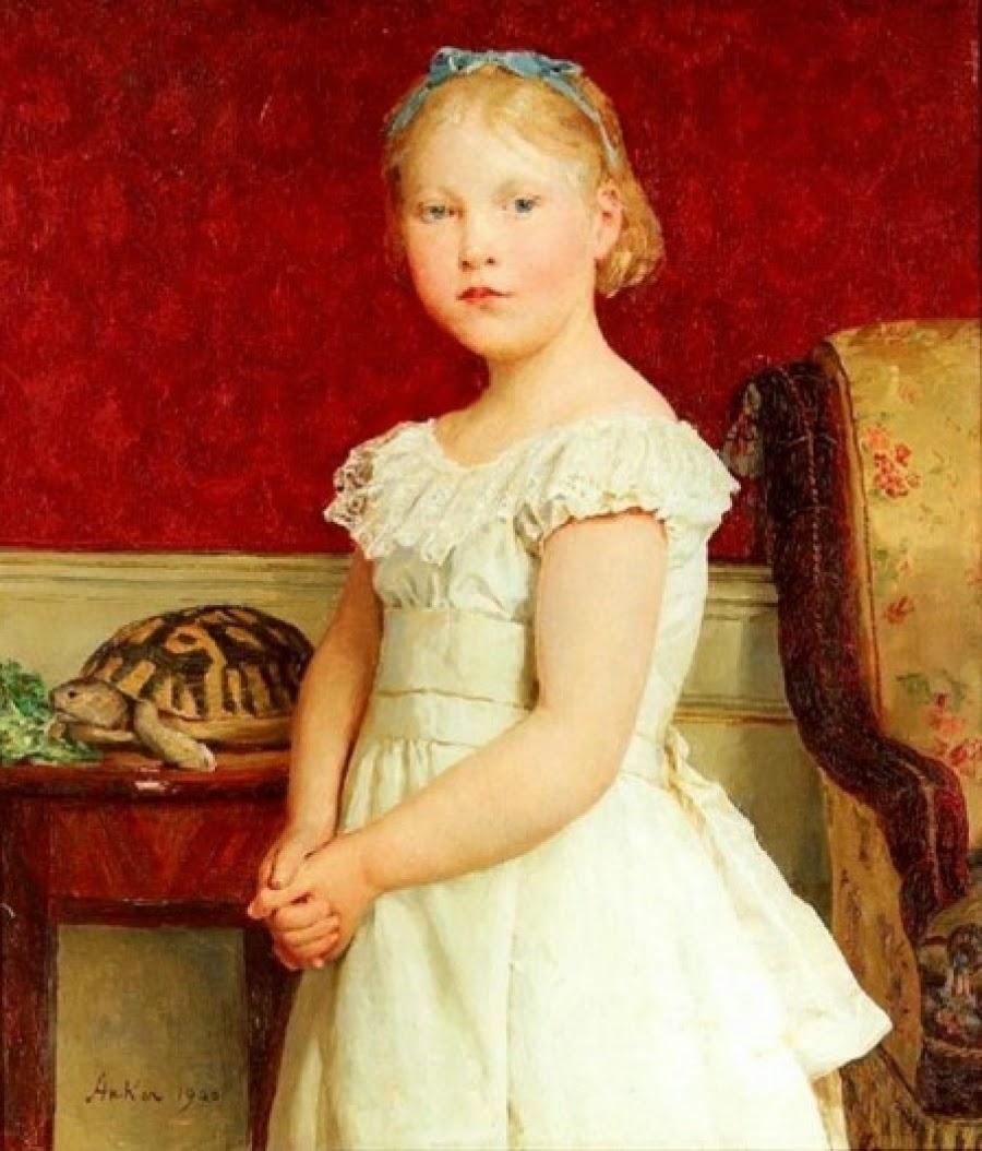 Bildnis Dora Luthy, albert anker, white dress