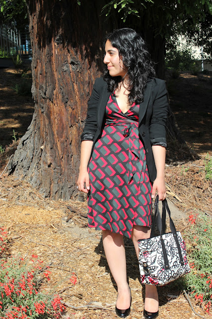 Blazer and DVF Wrap Dress Work Outfit