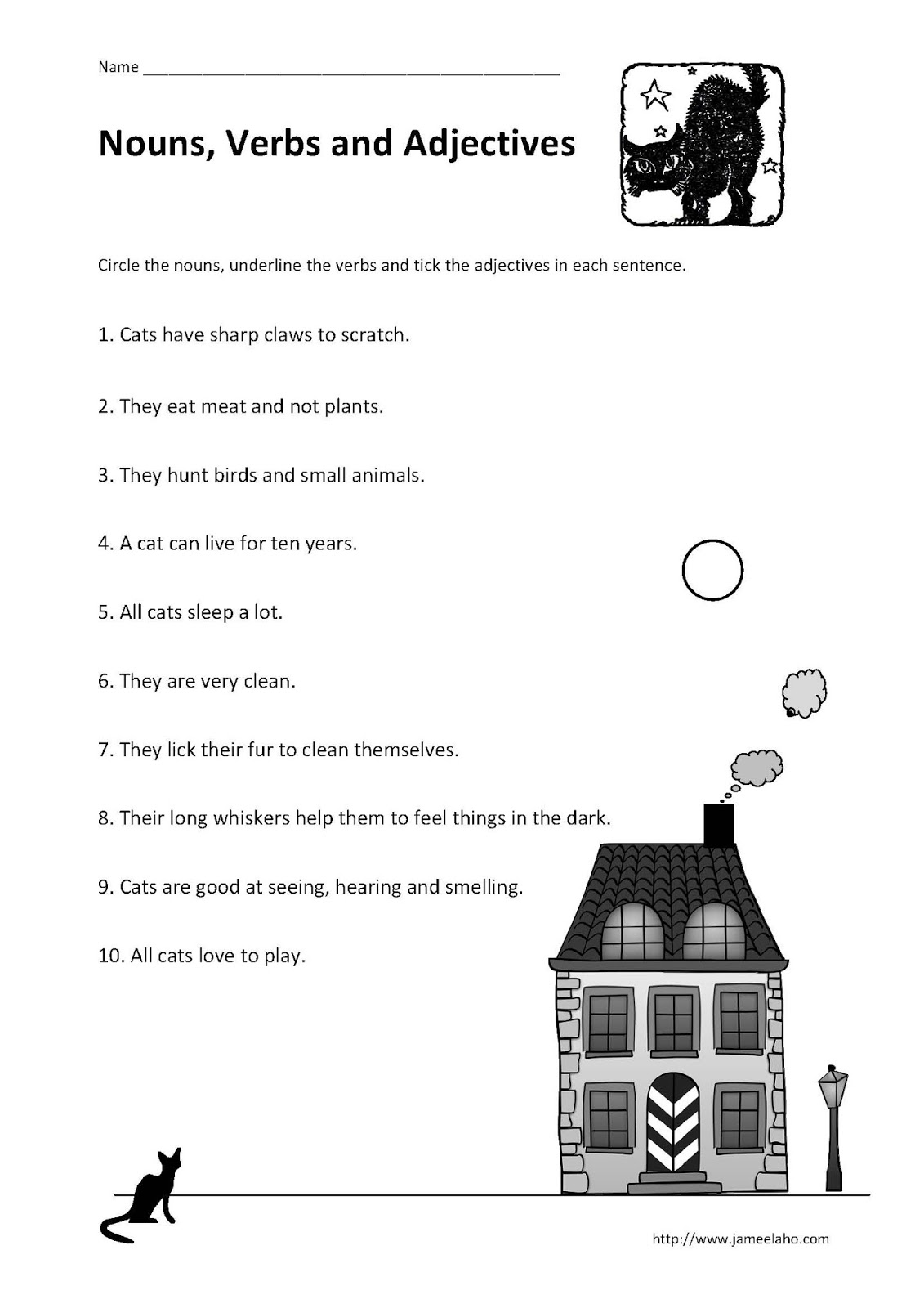 Teaching Simplified: Identifying Nouns, Verbs and Adjectives in a  alphabet worksheets, learning, worksheets, and free worksheets Underline The Nouns Worksheet 2 1600 x 1131