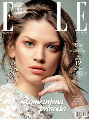 Covers : Model Claudia A Magazine Photoshoot Pics on Elle Magazine Slovenia January 2014 Issue