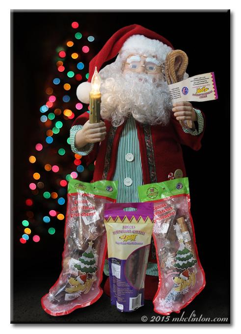 Mechanical Santa with Jones Natural Chews treats