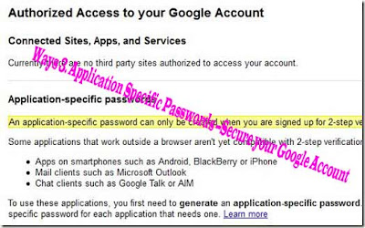 Way 3. Application Specific Passwords --Secure your Google Account
