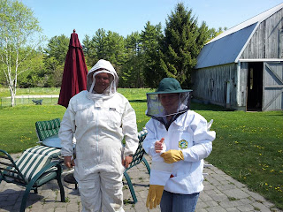 Branden and Bev in protective gear
