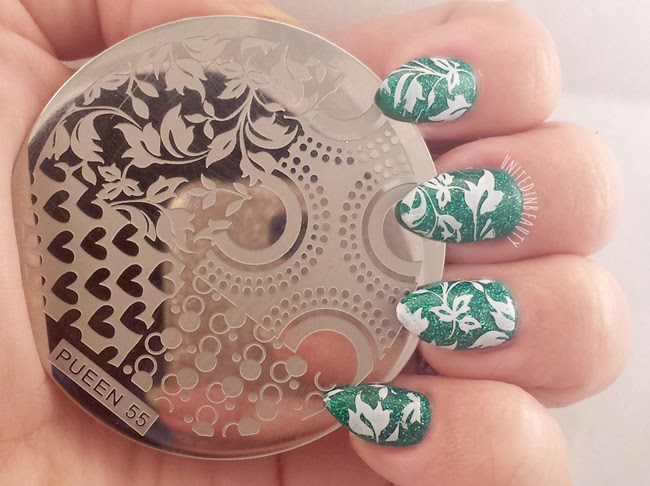 Green Holograpic Nail Stamped With Ivy