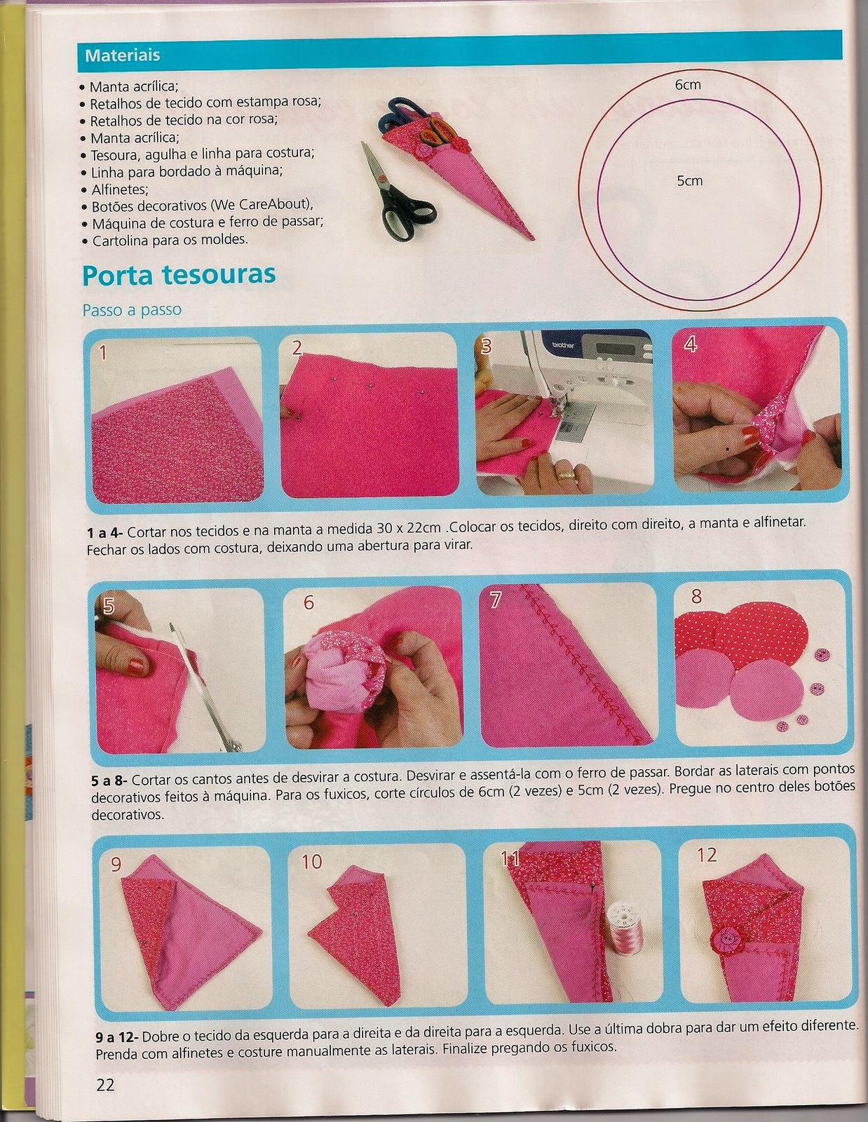 Porta-tesoura de tecido passo a passo