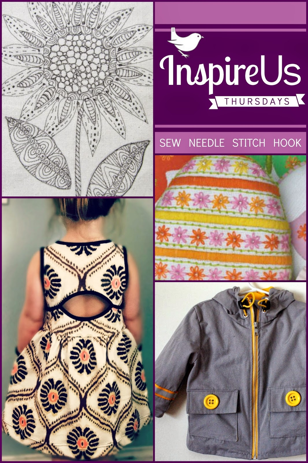 Inspire Us Thursdays: Sew Needle Stitch Hook | Join us for a Link Party of sewing, knitting, cross-stitch, and crochet; of fabric, yarn, and embroidery floss; all on The Inspired Wren.