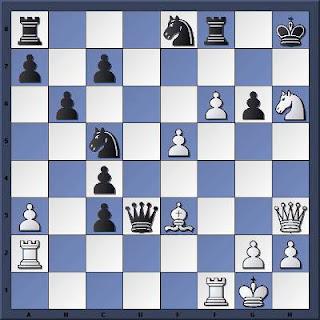 Echecs à Caen : la position après 27...Rh8