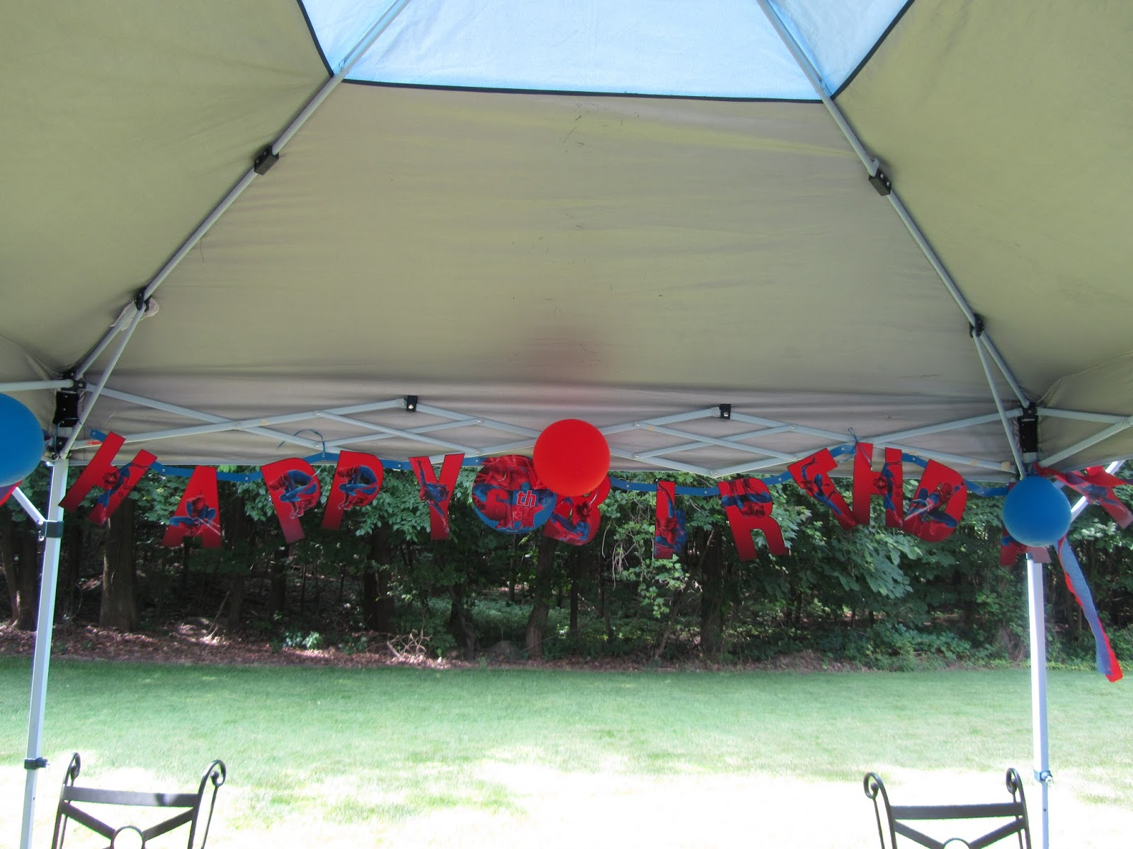 We set up a tent in the backyard and decorated with a Spider-Man banner red and blue balloons and the contents of a Spider-Man decorating kit. & ROCmomma: How to Have an Amazing Spider-Man Birthday Party: Part 2