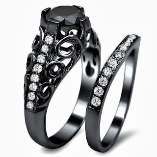 Black Round Diamond Engagement Ring Bridal Set