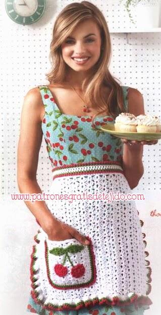 Delantal crochet con bolsillo y punto abanico, aplique de guindas