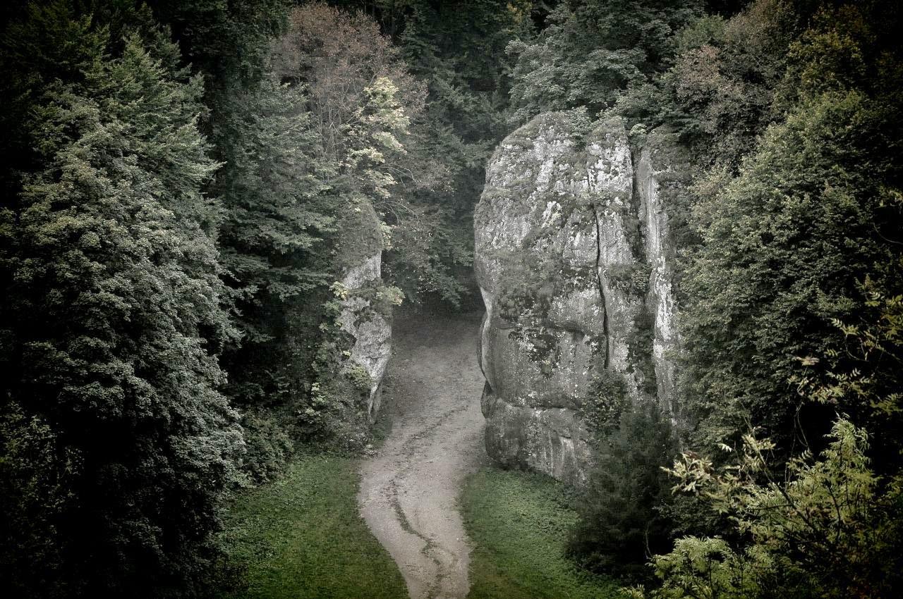 Brama Krakowska widziana z platformy widokowej w Jaskini Ciemnej