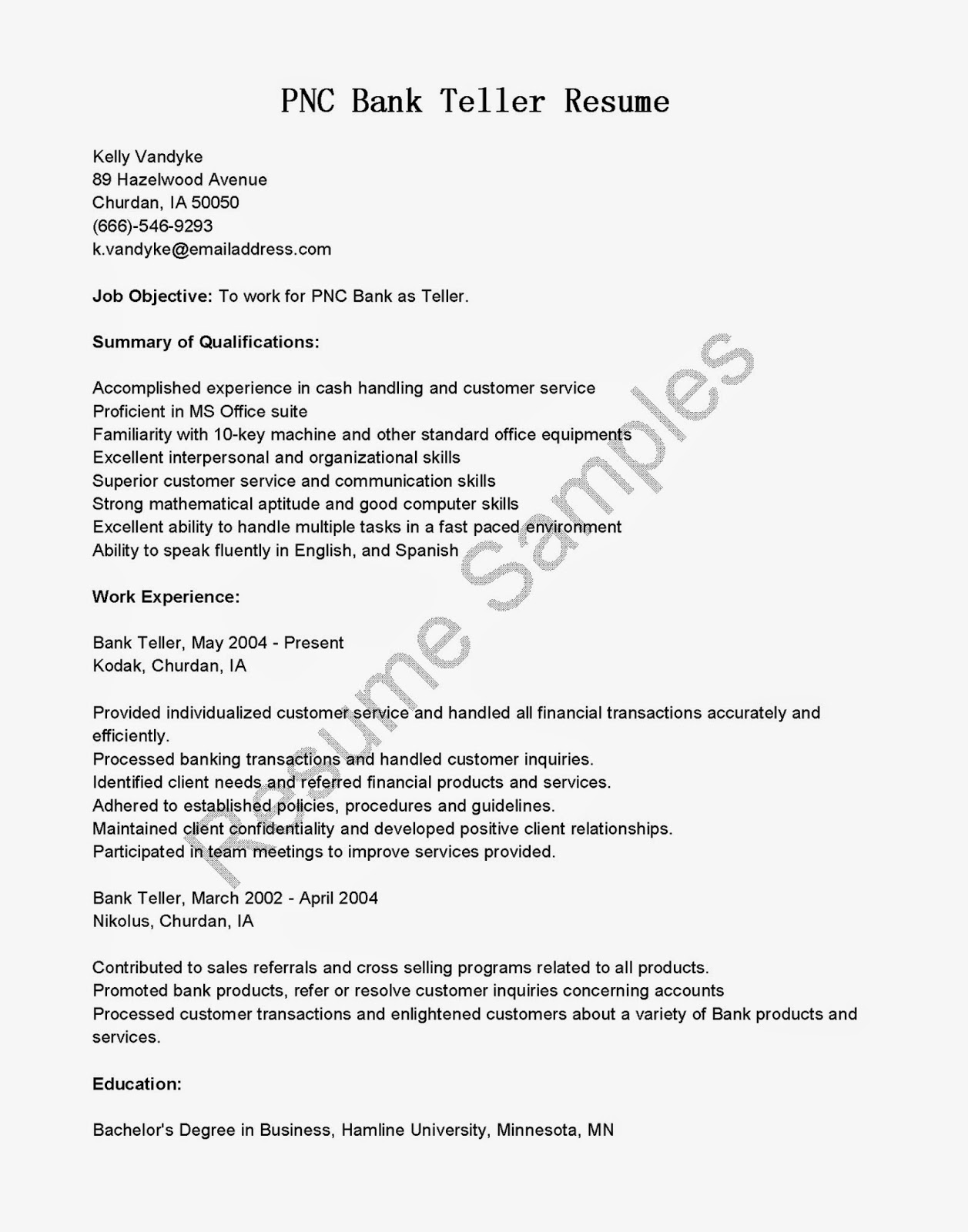 resume samples  pnc bank teller resume sample