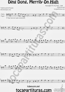 Partitura de Ding Dong, Merrily On High para Violonchelo y Fagot by Sheet Music for Cello and Bassoon Music Scores