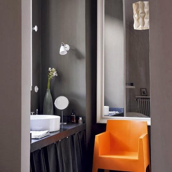 Baños Modernos En Color Gris:Baños en color naranja y gris – Colores en Casa