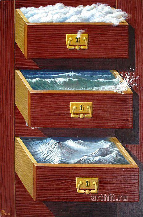 Gennady Privedentsev pinturas arte surreal Gavetas de ambientes