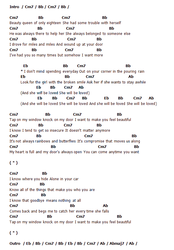 lyric maroon 5 she will b e loved: