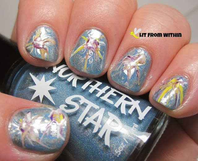 I thought that I could do a dry water marble for the large starburst patterns