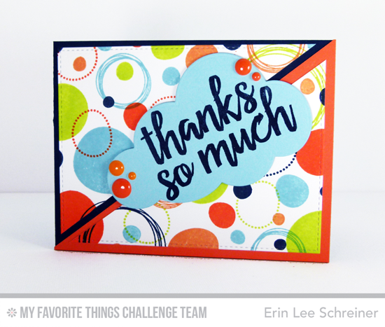 Colorful Circles Thanks Card by Erin Lee Schreiner featuring the Party Patterns and Written in Watercolor stamp sets #mftstamps