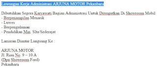 Lowongan Kerja Administrasi ARJUNA MOTOR Pekanbaru