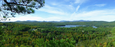 View of Loon Lake and Gore Mountain from Stewart Mountain, Sunday morning, 10/04/2015.  The Saratoga Skier and Hiker, first-hand accounts of adventures in the Adirondacks and beyond, and Gore Mountain ski blog.