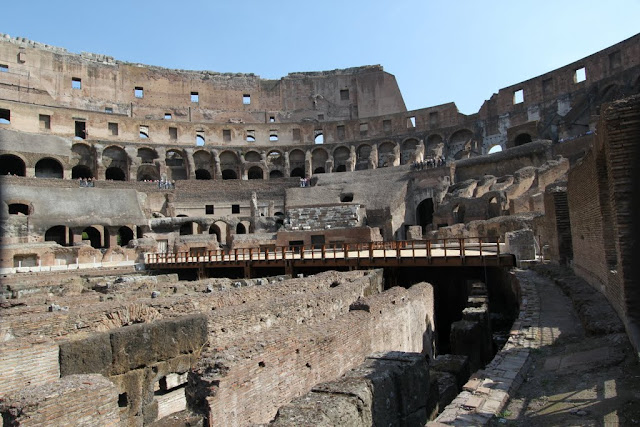 A close view of the hypogeum, the 1st tier and top tier seating in the Roman Colosseum in Rome, Italy