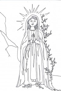 Our lady of lourdes lots of crafts and activities for Our lady of lourdes coloring page