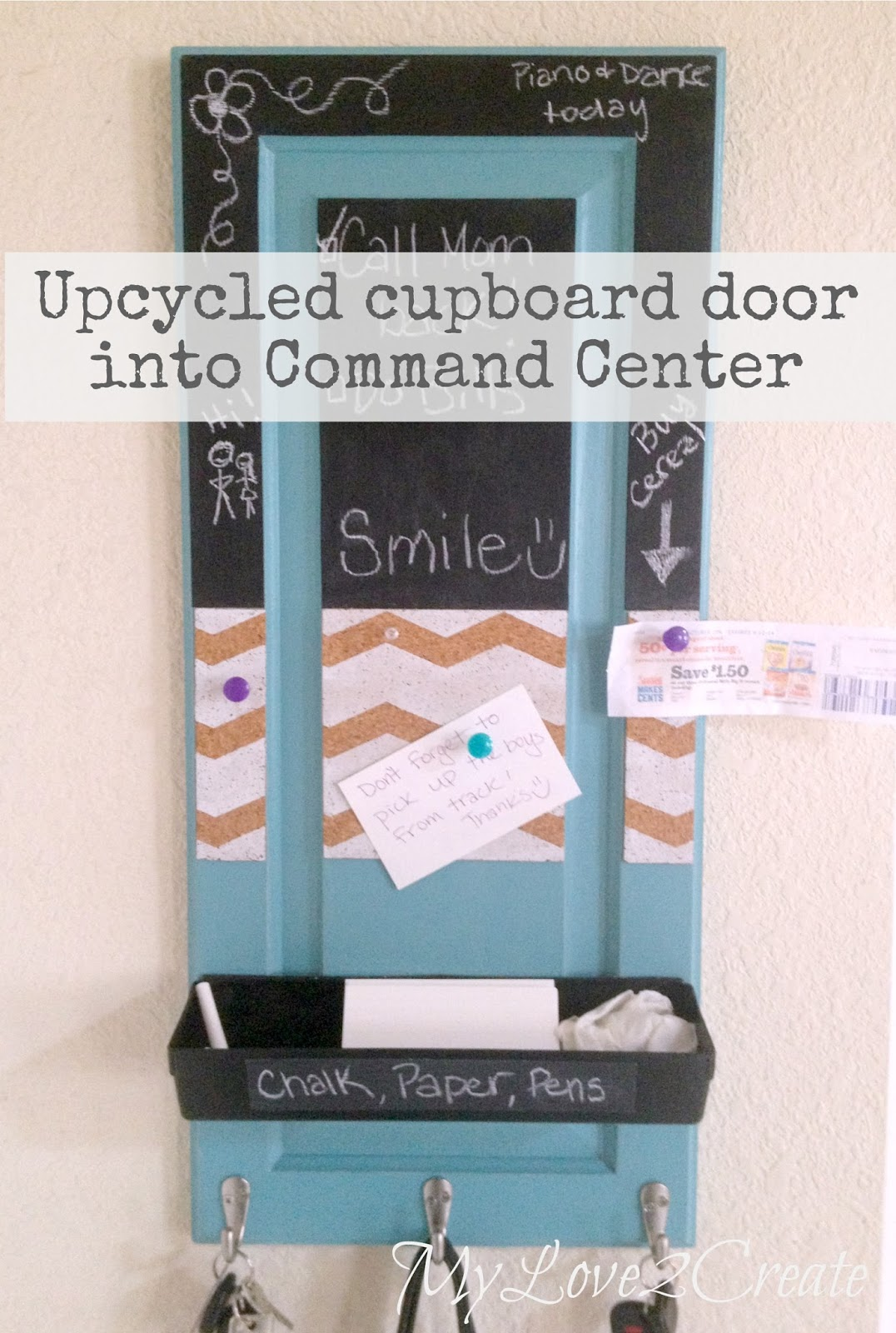 MyLove2Create, Upcycled Cupboard Door into Command Center