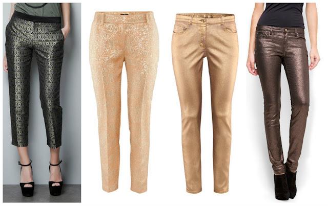 calças metalizadas, metallized jeans, calças douradas prateadas