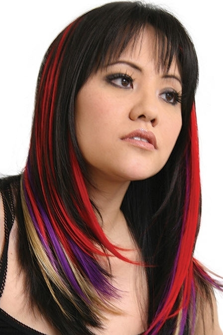 Black hair with dark red highlights underneath