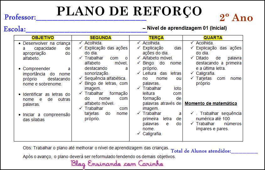 Super Ensinando com Carinho: Plano de reforço escolar XA51
