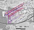 Afbeelding 1. Verplaatsing van geïnfiltreerde warmte en koude, ten gevolge van grondwaterstroming (een situatie in Apeldoorn. Bron: Slimme exploitatiestrategie voor bodemenergie bij hoge grondwaterstroomsnelheid)