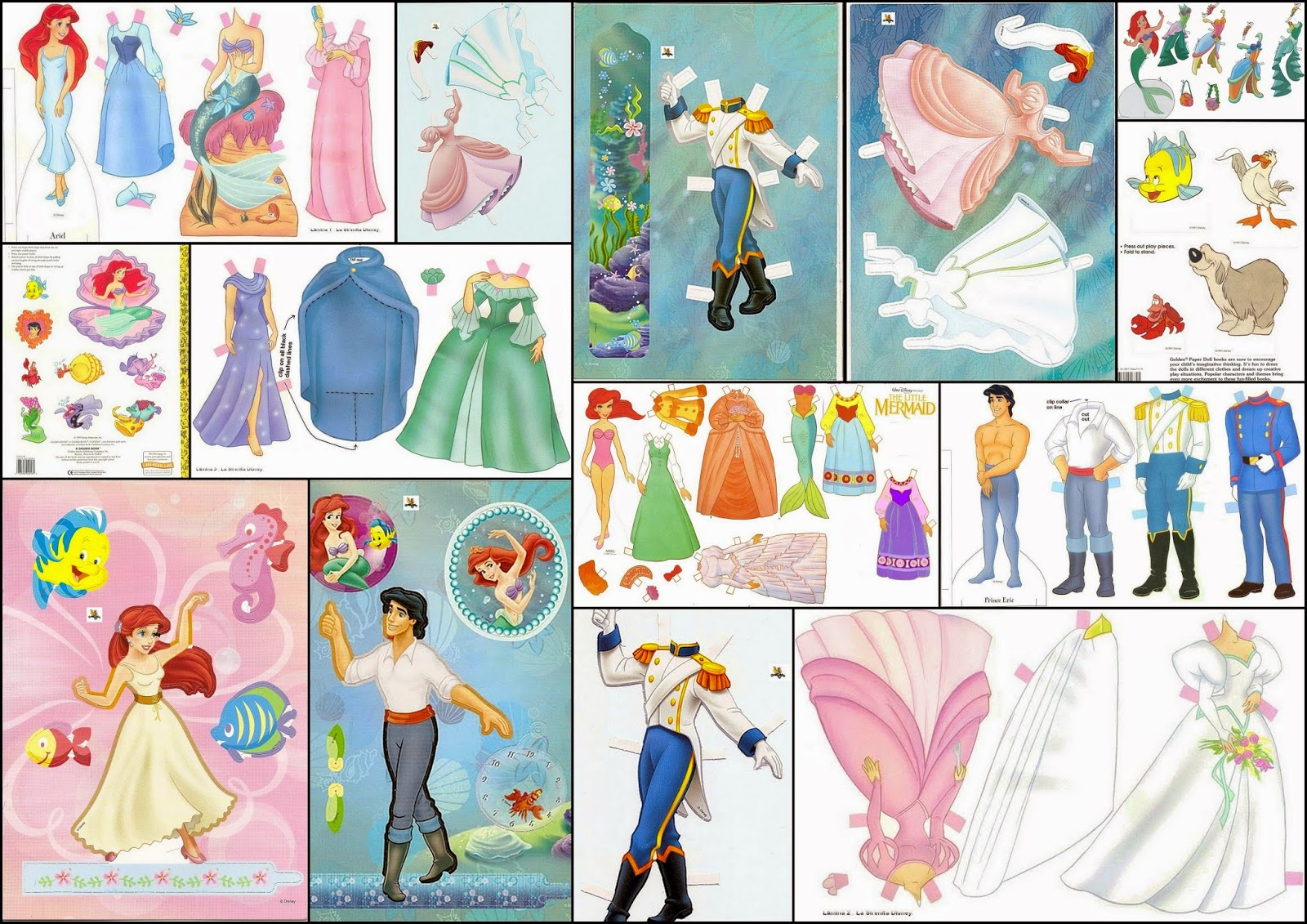 La Sirenita: Muñecas Recortables para Imprimir Gratis.