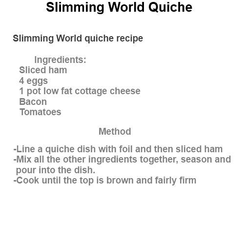 Slimming world quiche quick recipes Slimming world recipes for 1 person