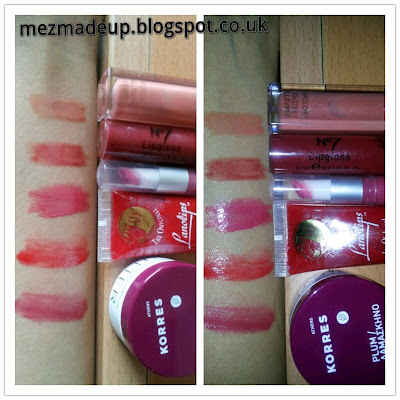 Revlon super lustrous lip gloss -Nude Lustre No 7 lipgloss - Number 5 intrigue ELF luscious liquid lipstick - Rasberry Lanolips - Apples Korres lip butter - Plum