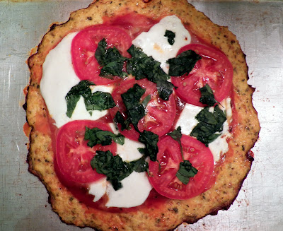 Cauliflower pizza crust, margherita style!