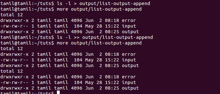 Append Output Redirection