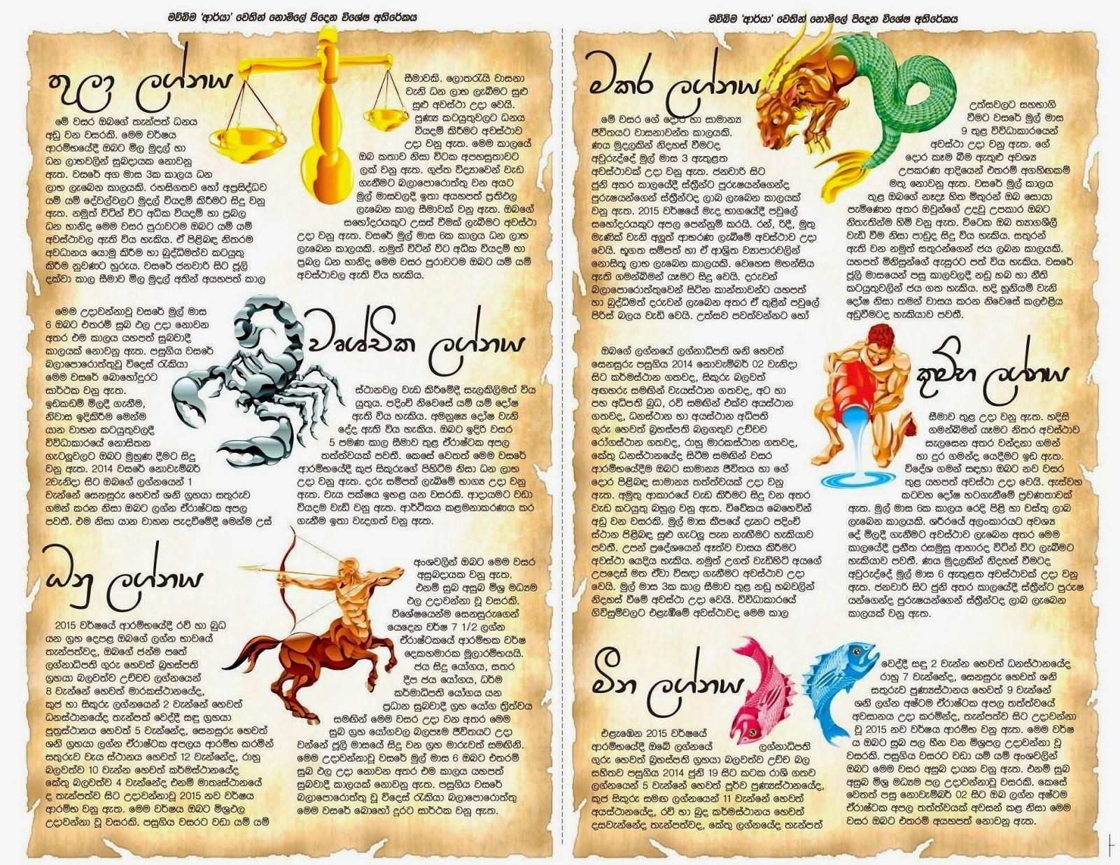 Sri Lanka Newspaper Articles: 2015 Lagna palapala - Astrology Lagna ...