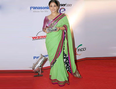 Bollywood Actress Vidyabalan green Saree Photos