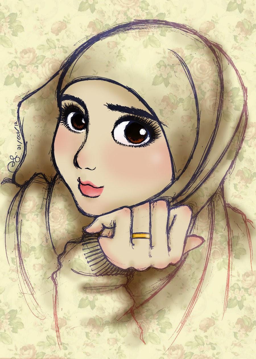 New hijab 2014 hijab girl sketch for Beautiful drawings for girls