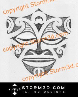 polynesian mask sketch maori style tiki